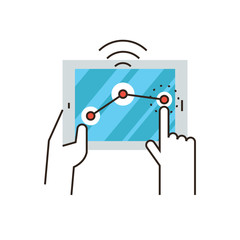 Wireless control flat line icon concept