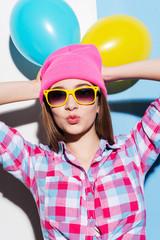 Bright hipster girl.