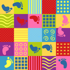 colorful seamless pattern with squares and footprints