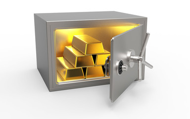 Tresor mit Gold Goldbarren