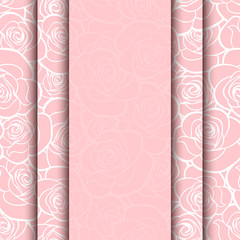 Vector pink card with roses pattern. Eps-10.