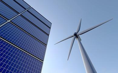 Zonnepanelen met daarnaast een windmolen