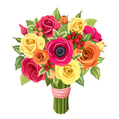 Bouquet of colorful roses, lisianthus and anemones flowers.