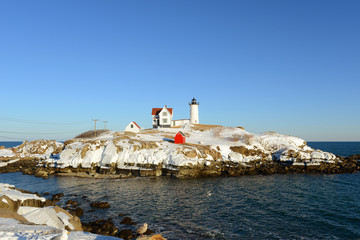 Cape Neddick Lighthouse (Nubble Lighthouse) in winter, Maine