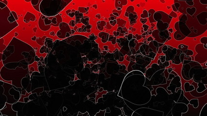 Abstract black Hearts on a dark red background