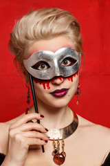 "Young girls with appliance make-up in the style of ""Halloween"""