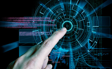 rendering of a futuristic cyber background target and finger ind