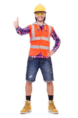 Young construction worker thumbs upisolated  on white