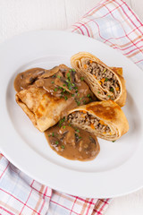 Savory mince pancakes or tortillas