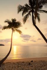 Sunset over the island beach