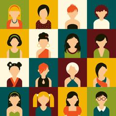 Sixteen of icons. Avatar set of women. Flat design