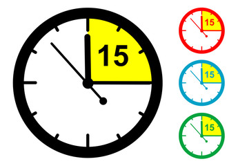Pictograma 15 minutos en varios colores