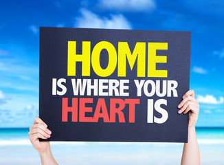 Home is Where Your Heart Is card with beach background