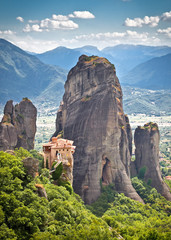 View on Meteora in Trikala, Greece.