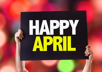 Happy April card with bokeh background