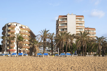 Mediterranean beach and hotels