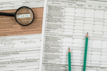 Polish tax form with pencils