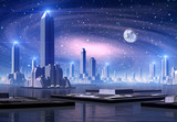 Fototapety Futuristic Alien City - Computer Artwork