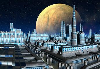 Futuristic Alien City - Computer Artwork