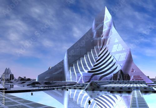 Foto op Canvas Futuristic Alien City - Computer Artwork