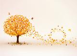 Fototapety Herbstbaum im Wind Hintergrund