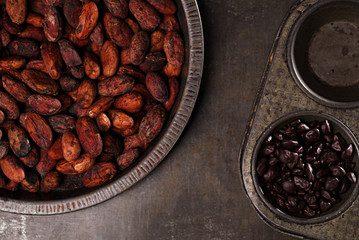 roasted cocoa chocolate beans in Vintage tin and chocolate in ba