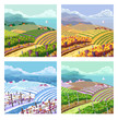 Four seasons. Rural landscapes.