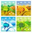Village landscape. Four seasons.
