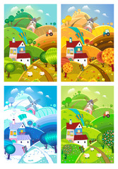 Rural landscape. Four seasons.