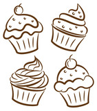 Fototapety cupcake in doodle style