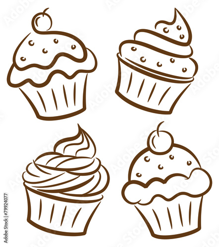 cupcake in doodle style - 79924077