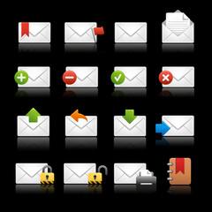 E-mail Icons - Set 2 -- Black Background