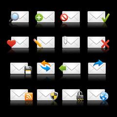 E-mail Icons - Set 1 -- Black Background