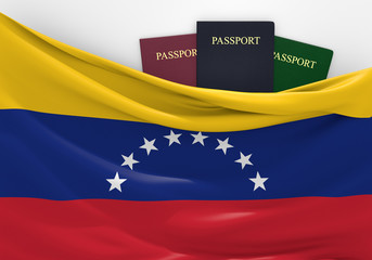 Travel and tourism in Venezuela, with assorted passports