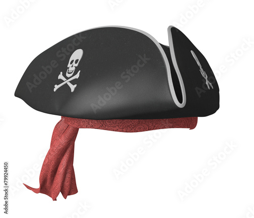 Pirate tricorn hat with skulls and a red bandana - 79924450