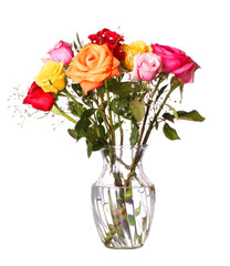 Bouquet of roses flowers in vase isolated on white background
