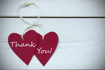 Two Hearts Label With Thank You