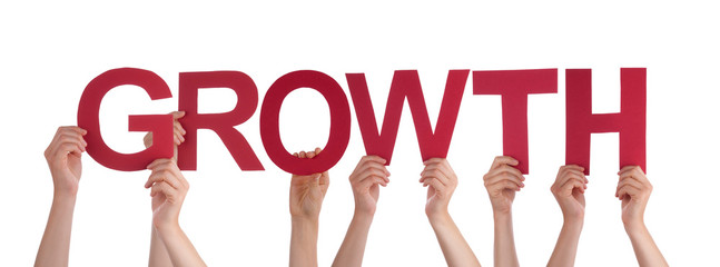 Many People Hands Holding Red Straight Word Growth