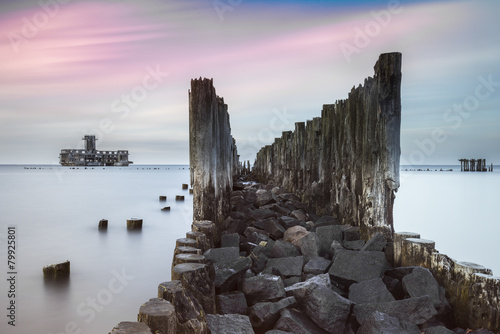 Old wooden pier and ruins of torpedo factory in Gdynia, Poland - 79925801