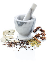 Marble mortar and pestle with assorted spices on white backgroun