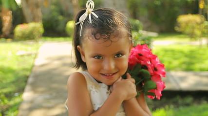 Girl Holding Gardenia Flowers
