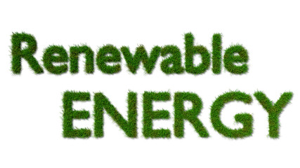 renewable energy sign on grass