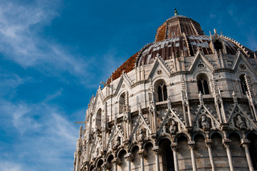 Pisa battistero dome sky background