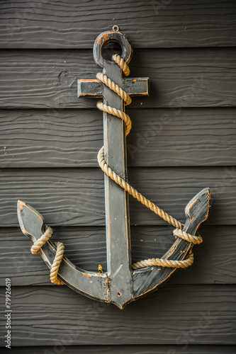anchor  on wood