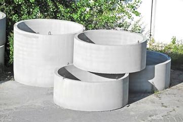 Concrete circle pit block on factory yard