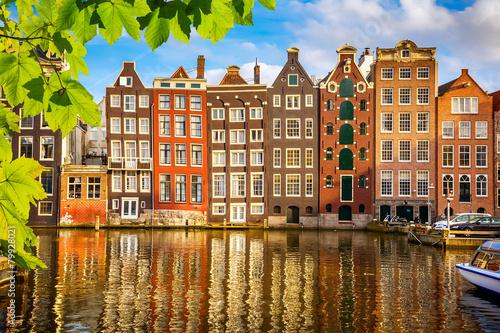 Plakát, Obraz Staré budovy v Amsterdamu