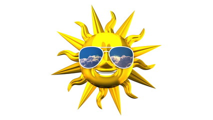 Golden Smiling Sun With Sunglasses On White Background