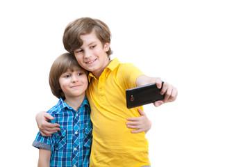 two boys do selfie