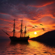 Sailboat against beautiful sunset landscape - 79930268