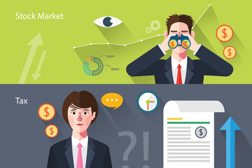 Flat characters of stock market concept illustrations